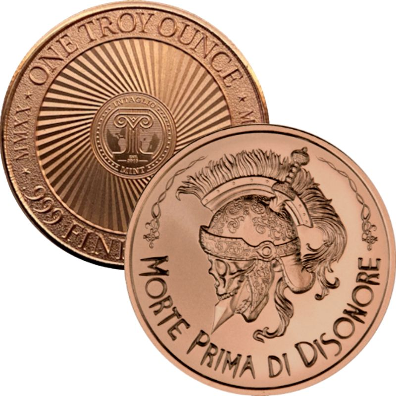 "Morte Prima Di Disonore ~ ""Death Before Dishonor"" ~ (2020 Reverse) 1 oz .999 Pure Copper Round"